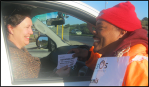 Ashley brightens day for weary motorists