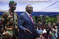 Central African Republic's new President Michel Djotodia speaks to his supporters at a rally in favour of the Seleka rebel coalition in downtown Bangui on March 30, 2013. (PHOTO: REUTERS/Alain). Amontchi)
