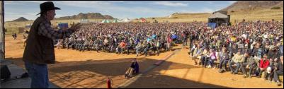 Mighty Men founder Angus Buchan addressing men at the 2012 Karoo Mighty Men Conference at Middelburg.
