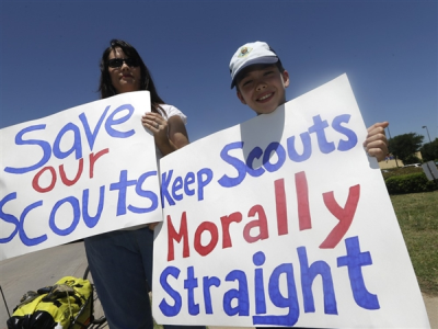 Protesters opposed to lifting of ban on gay Boy Scouts.