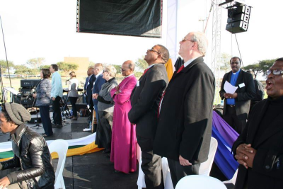 Church leaders at the National Day of Prayer event at Soshungave TUT Stadium on Pentecost Sunday.