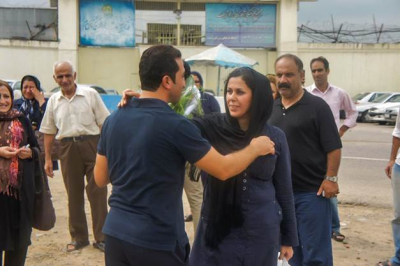 Pastor Youcef Nadarkhani greets his wife Fatemah after his release from prison in September 2012. Nadarkhani family for World Watch Monitor.