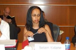 Selam Kidane at the European Parliament.