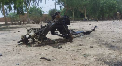 The remains of the car used in the May 23 suicide attack in Agadez.