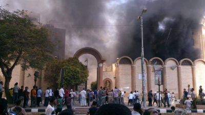 Sohag St. George church attacked by Morsi supporters (Mostafa Hussein).