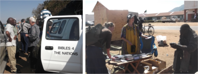 """Bibles for the Nations"""" in action on the side of the roads and in market places."""