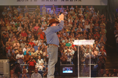 Angus Buchan speaking at the first Mighty Men USA in May, 2013.