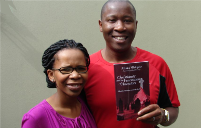 Afrika and Lindelwa Mhlophe, celebrating the completion of Afrika's book, Christianity and the Veneration of Ancestors.