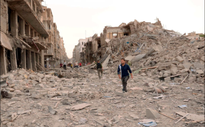 War damage in Aleppo, Syria.