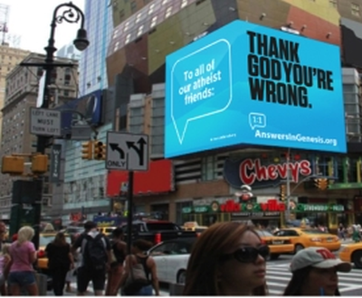 Billboards in New York's Times Square reach out to atheists