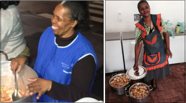"(Left) Joyce Ncamisa serving food to homeless people at the bus station in the Port Elizabeth city centre. (Right) Melina Kala preparing food in the ""Love Story Pantry""."