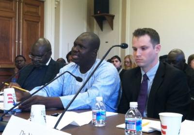 (From left) Emmanuel Ogebe, Habila Adamu, and Jacob Zenn testify before lawmakers on Wednesday.