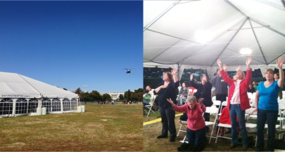 Left: David's Tent with the White House in the background. Right: Worshipers in the tent.