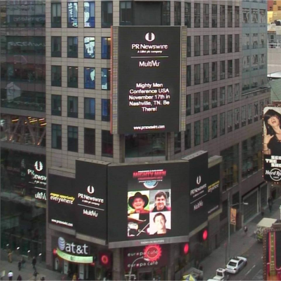 Men came from all over America to attend the second MMC USA in Nashville. Here the event is promoted on giant, digital billboards on Times Square, New York.