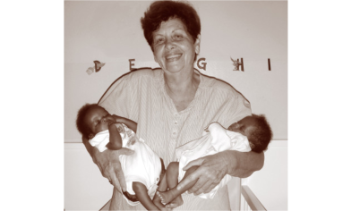 Annie Chikwaza with two of her babies.