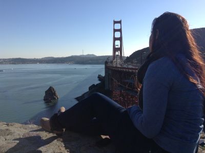 Shannon dreaming...at the Golden Gate Bridge, San Francisco.