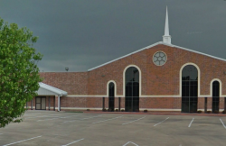 The church parking lot where the thief was breaking into cars.