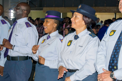 PE SAPS officers appreicating the SAPS Appreciation service at Victory Ministries International.