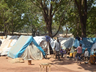 Central African Republic residents fleeing violence have sought refuge in camps such as this one, in a church compound in Bossangoa, in the northwest. (PHOTO: World Watch Monitor).