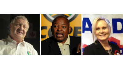 Pieter Mulder (FF Plus), Mosiuoa Lekota (Cope) and Cheryllyn Dudley (ACDP), represented their parties at the signing of an agreement yesterday, in which five opposition parties formed the coalition, Collective for Democracy.