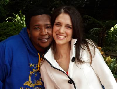 Idols SA 2013 winner, Musa Sukwene, with finalist Christina Williams.