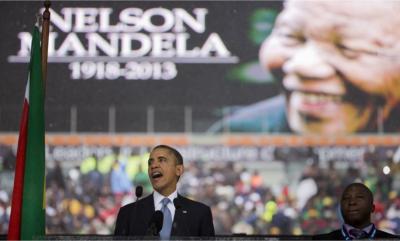 United States President Barrack Obama speaking at the memorial service of Nelson Mandela.