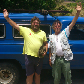 De Wet Swanepoel (left) and Charles Probert, in Port Elizabeth, in front of their backup vehicle. The cross which they have lugged for 1 000km from Natal is on the vehicle.