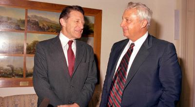 In 1982, then U.S. Secretary of Defense Caspar Weinberger met with Israeli Defense Minister Ariel Sharon.