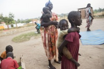Ps Monychol, his wife and 3 children serve  at a refugee camp in South Sudan