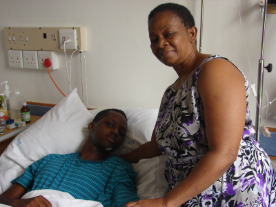 Wankunda Silengo, 21, recovering in St George's Hospital, Port Elizabeth, and his mother, Edith Silengo, of Kabwe, Zambia.