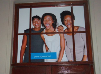 Peter Throp sent this photo to Gateway News showing advertising material on the wall of Marie Stopes Clinic. The caption reads: 'Be empowered'. Throp comments: 'Empowered to kill'.
