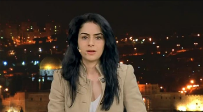 Christy, a Palestinian Christian from Bethlehem, says she had to flee to the UK after threats on her life for supporting Israel's right to a country (IMAGE: YouTube) SEE VIDEO CLIP BELOW