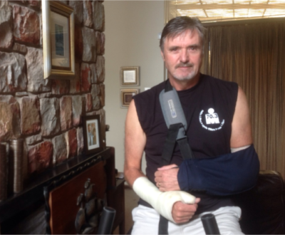 Richard Preston, recovering from a battery of serious injuries he sustained in a cycling accident three months before the Ironman 2014. More injuries were to follow before the great endurance event.