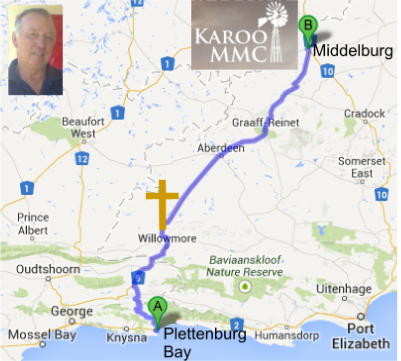 The 500km route that Vlooi Terblanche (inset) is walking from Plettenburg Bay to the KMMC 2014 at Middelburg. He is carrying a cross on the journey. The cross on the map is at Willowmore, his current location.