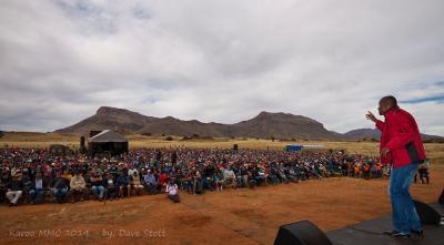 Afrika Mhlophe addresses the Saturday morning gathering.
