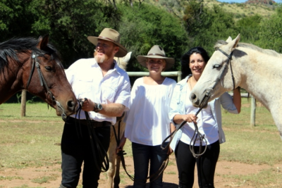 From left, Martin Blount, his daughter, Amber, and his wife, Nina, who plan to set out next month on a 3 000 to 6 000 km horse riding journey for Jesus. During the ride they will promote a cowboy church they plan to launch in South Africa in partnership with a cowboy church in America.