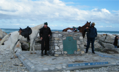 Martin (left) and his friend, Braam, at Cape Augulhas, at the end of their 2 200 km ride for Jesus in 2010.
