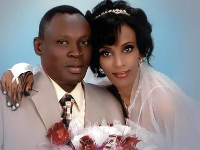 Meriam Yehya Ibrahim with her husband, Daniel Wani at the time of their wedding. (PHOTO: Gabriel Wani/Facebook)