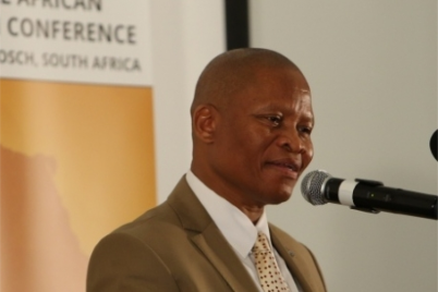 South Africa's Chief Justice Thomas Reetsang Mogoeng speaking at a conference in which he said infusing religion with law could help fight lawlessness and corruption in one of the world's most crime-ridden countries. He was the keynote speakr at the Stellenbosch University conference on May 27, 2014. (PHOTO: Stellenbosch University / Hennie Rudman)
