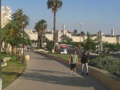 NO DIVIDING WALLS: The walls of Jerusalem's Old City looking towards Jaffa Gate, close to the conference venue. But there is peace within as Arab and Jew unite.