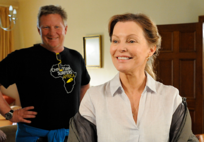 Bruce Macdonald, SA director of 'The Perfect Wave' which has just released in the US, and Cheryl Ladd (Charlies Angels), one of the leads in the film. Ladd, a committed Christian,   was so moved by her experience and the message of the movie that she chose to return her acting fee to the producers.