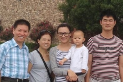 Bob Fu, Fu's wife, Heidi, Zhang Huixin, Sun Jiexi, and Sun Zhulei.