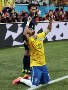 but with four goals in the first three games, Brazil's Neymar demonstrated remarkable composure for a man so young (he's just 22). Part of the reason could be his stable faith in God; a committed Christian, he tithes 10% of his astronomical Barcelona salary to his church.