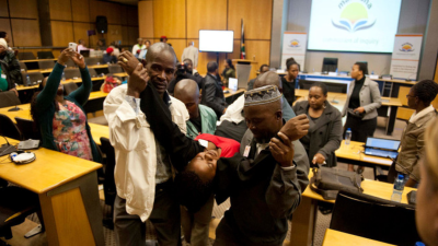 The widow of a slain miner collapses during the Marikana inquiry this week (PHOTO: Madeleine Cronje, M&G)