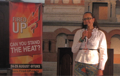 Vanessa Goosen sharing her heart-wrenching testimony at the Fired-Up mission at Tuks.