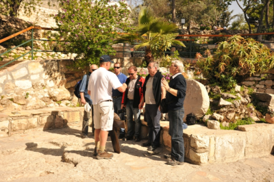David Cape ministering to a group of men from the Czech Republic, at the  'Garden Tomb' in Jerusalem, during his ongoing Great Commission Walk.