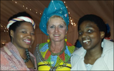 Erna Goedhart (centre) with guests at the Unity Corporation launch, Siki Dlanga (left)and Tando Keke.