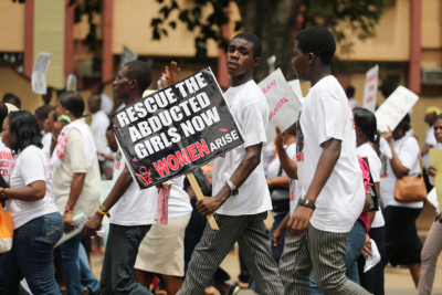 (PHOTO: REUTERS/AKINTUNDE AKINLEYE) Students join a protest demanding the release of the abducted secondary school girls in the remote village of Chibok, along a road in Lagos May 12, 2014. The leader of the Nigerian Islamist rebel group Boko Haram has said he will release more than 200 schoolgirls abducted by his fighters last month in exchange for prisoners, according to a video seen by Agence France-Presse on Monday.