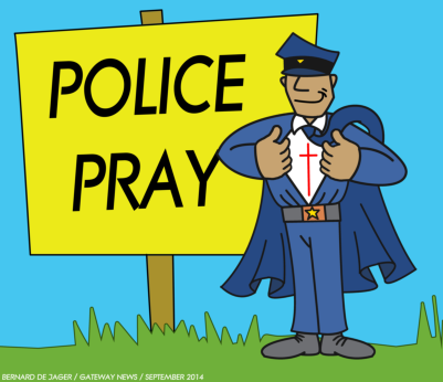Gateway News Volunteer Cartoonist Barry de Jager shows that police are like super heroes when they partner with God. (CLICK ON IMAGE TO ENLARGE).