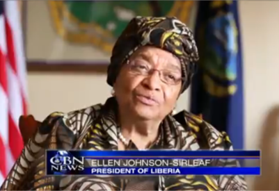 Liberian President,Ellen Johnson-Sirleaf (PHOTO: CBN News screenshot).